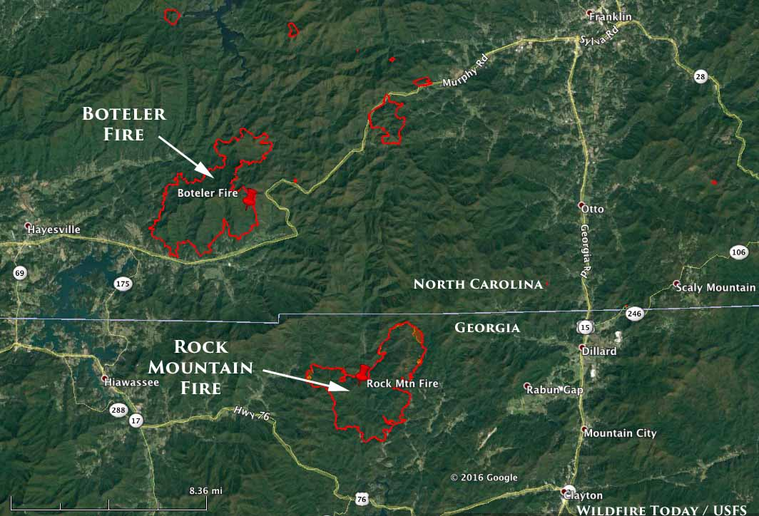 map Rock Mountain Fire Boteler Fire
