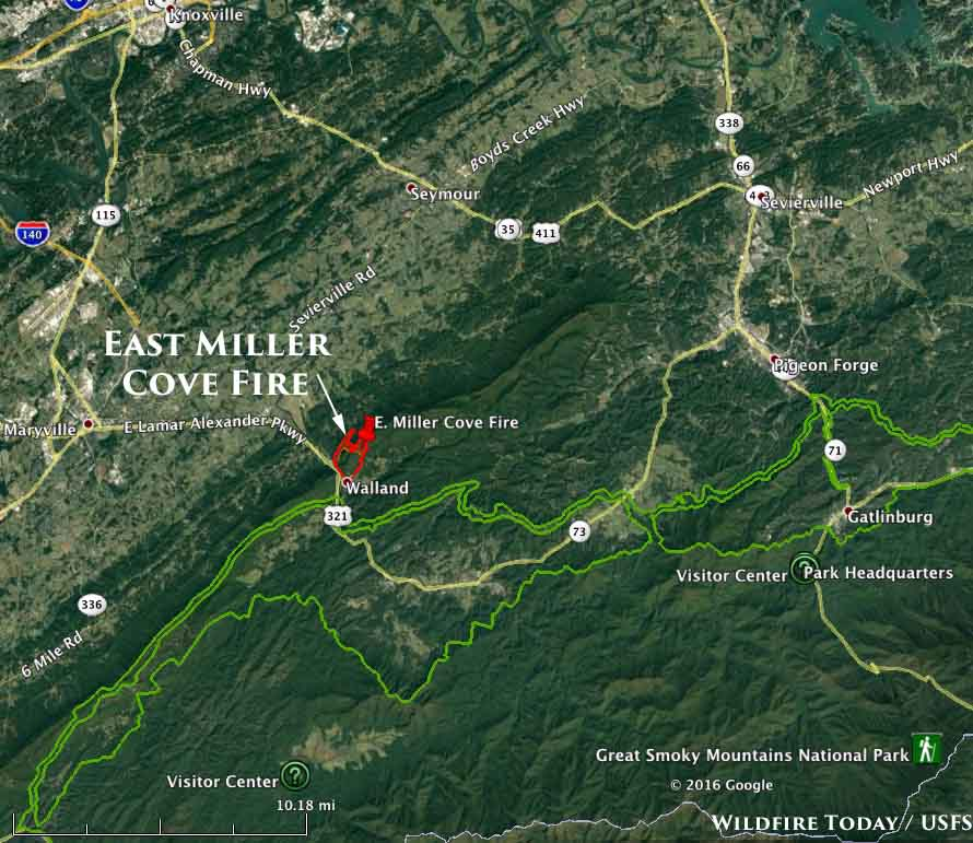 Rapidly Spreading Fire West Of Gatlinburg TN Wildfire Today - Map of east tn