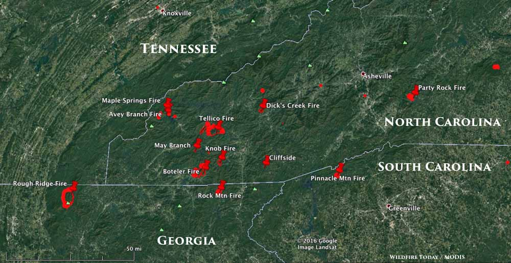 Heavy Wildfire Activity Continues In North Carolina And Georgia - Us wildfire activity map