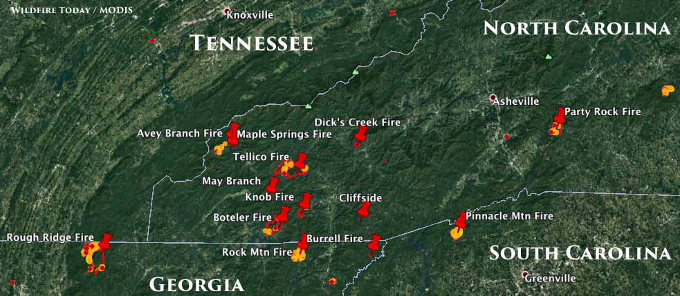 map wildfires tennessee georgia