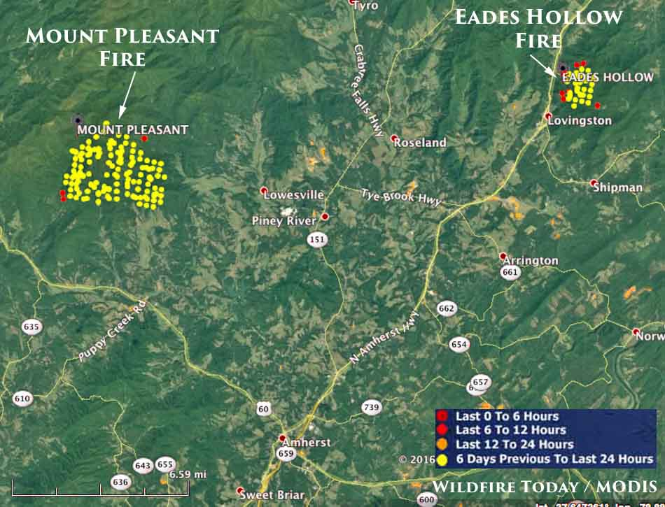 map Mt. Pleasant and Eades Hollow fires