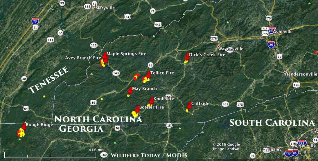 North Carolina Wildfire Map.Nc Ga Fires 11 7 2016 Wildfire Today