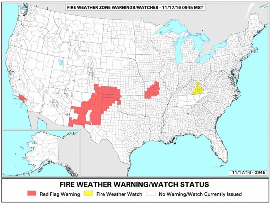 Red Flag Warnings, November 17, 2016