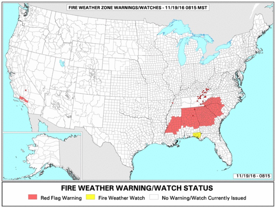 Southern states under a Red Flag Warning, November 19, 2016