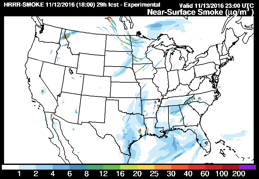 Wildfire Smoke Forecast For Sunday Evening Wildfire Today - Wildfires in southeastern us map