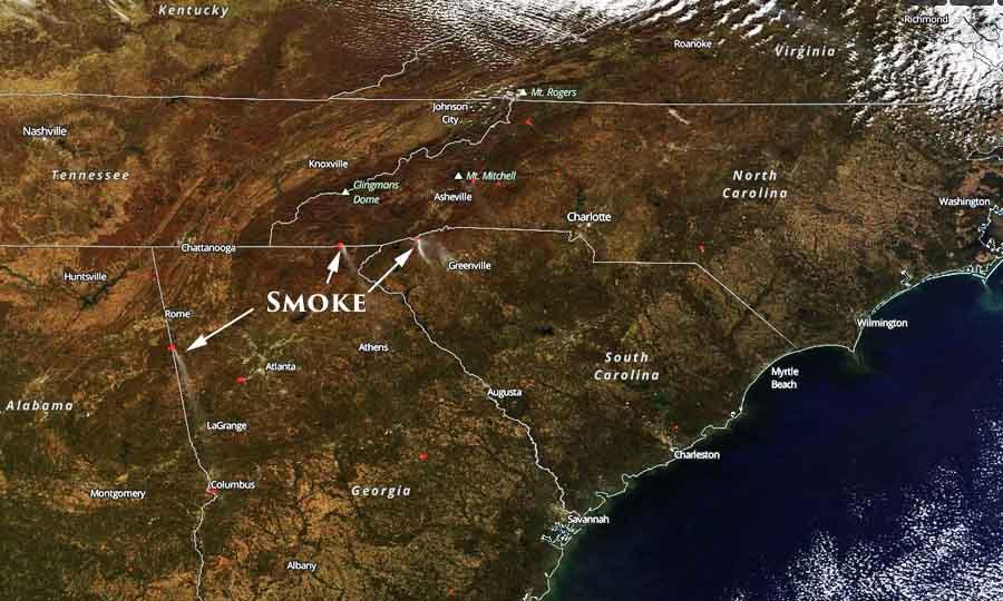 satellite photo wildfire smoke