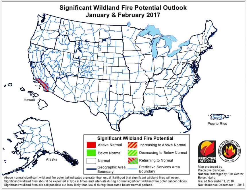 wildfire potential january february
