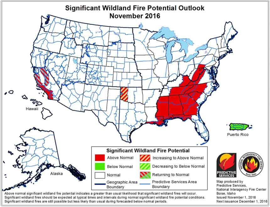wildfire potential november