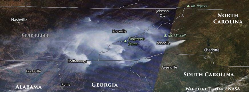 Tennessee and North Carolina receiving the worst of the smoke on Saturday