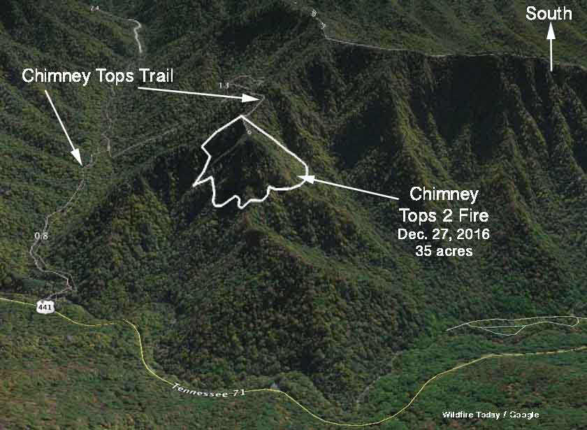 3-d map chimney tops fire