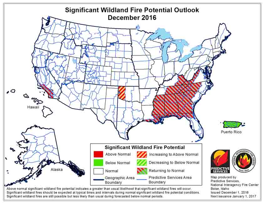 Wildfire potential, December through March