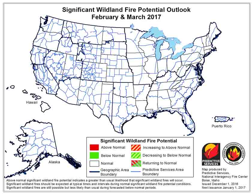 February March wildfire outlook