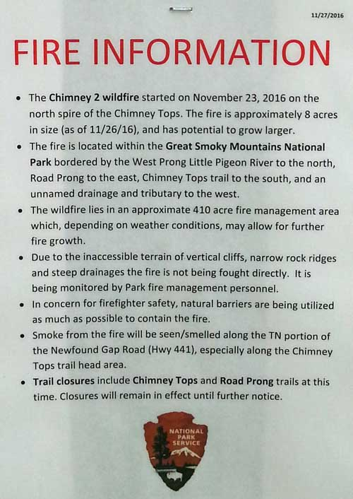 Chimney Tops 2 Fire information monitor