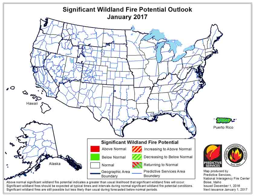 January wildfire outlook