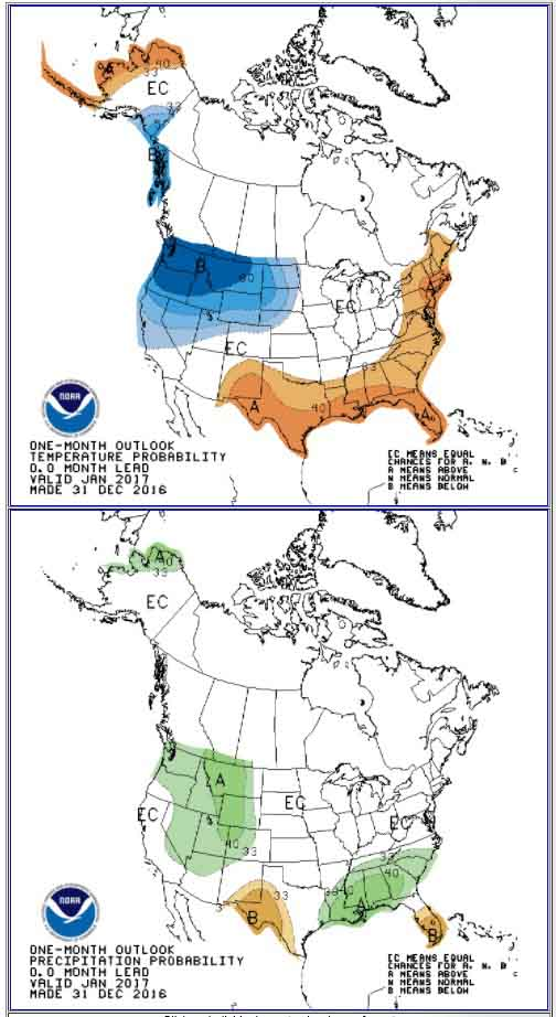 30-day temperature precipitation outlook