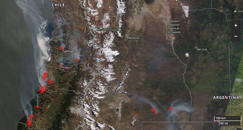 wildfires map Chile
