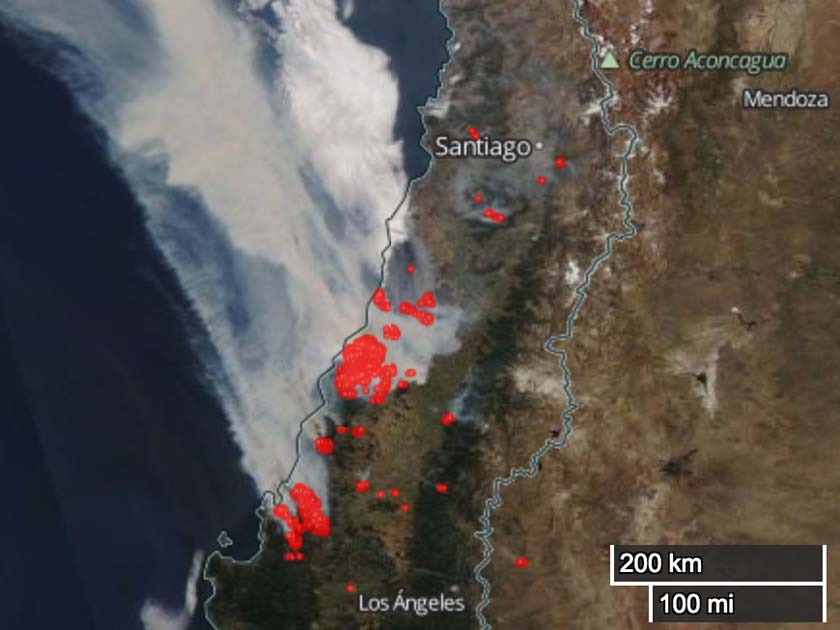 wildfires in Chile satellite photo