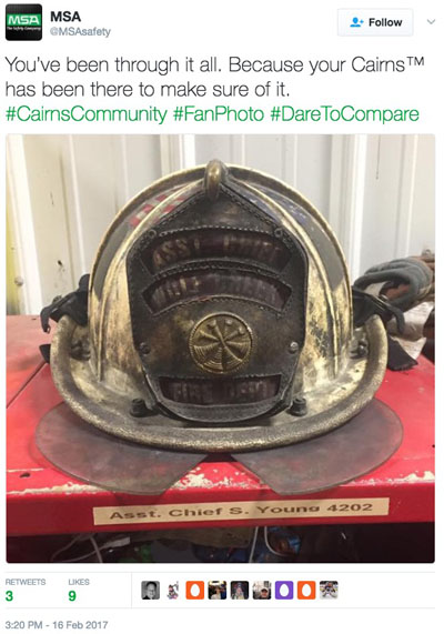 Cairns dirty helmet firefighter