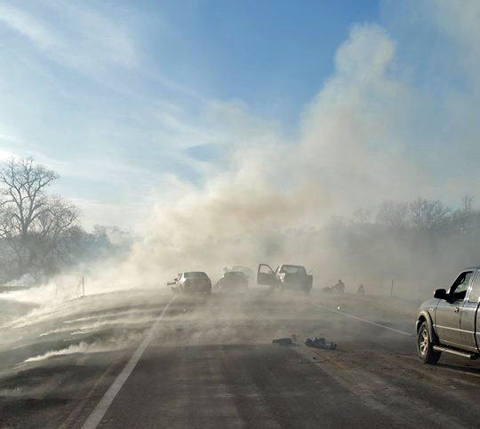 Osage smoke highway accident controlled burn