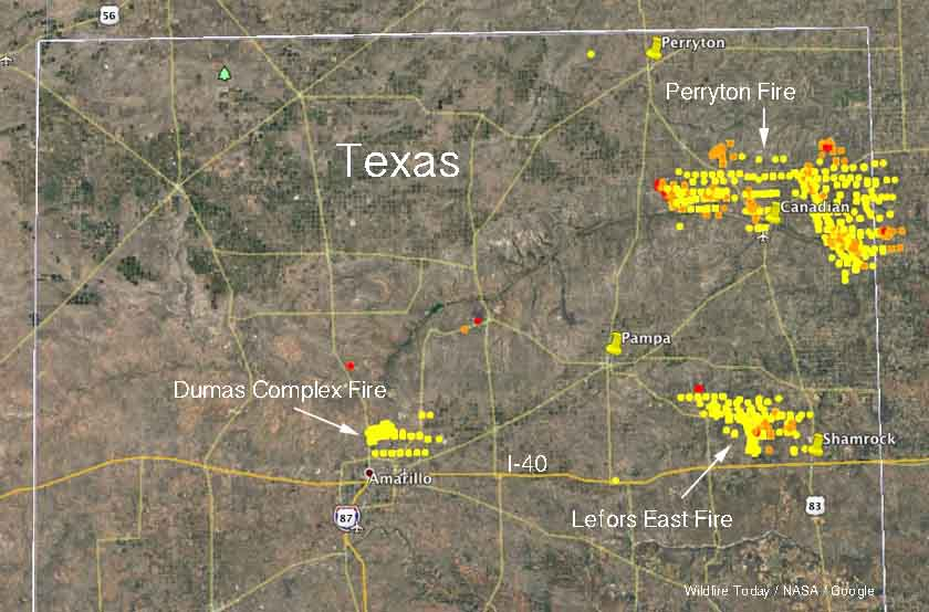 map Texas fires wildfires