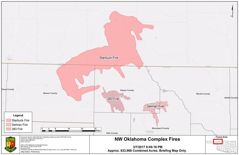 Three fires near OK-KS border burned over 800,000 acres