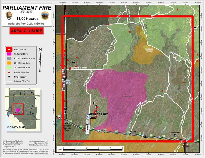 Parliament Fire burns 11,000 acres in Florida