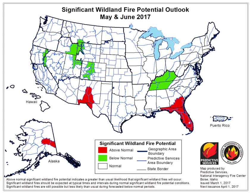 wildfire potential May June 2017
