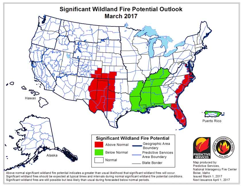Wildfire potential, March through June