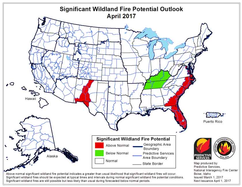 wildfire potential April 2017