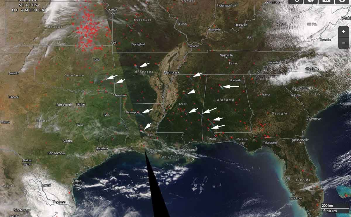 Satellite view of wildfire activity in the southeast