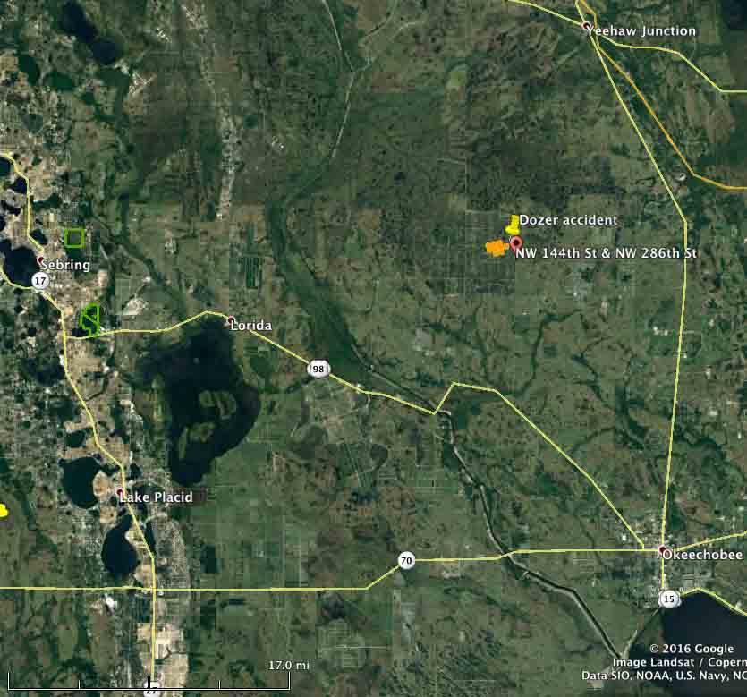map Dozer burnover Okeechobee County