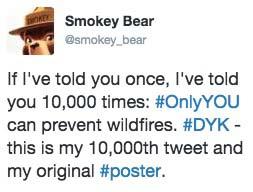 Smokey Bear 10000 tweet
