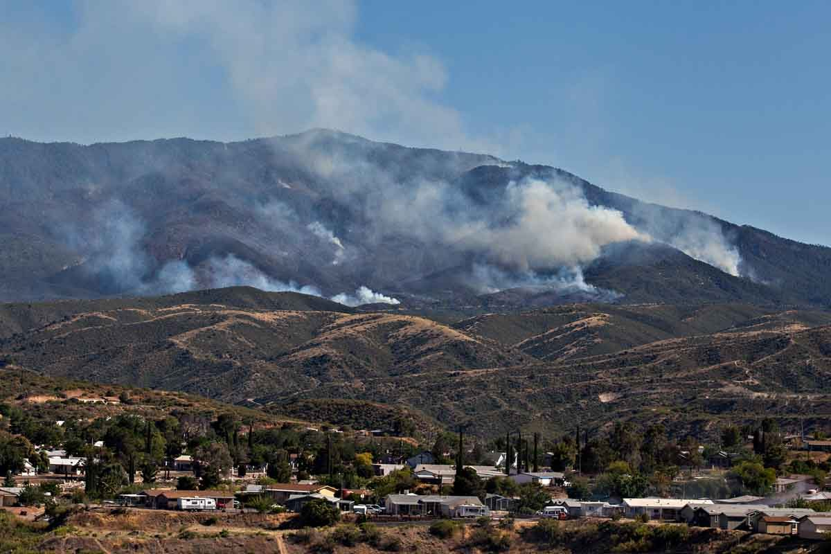 Growth of the Pinal Fire south of Globe, Arizona slows