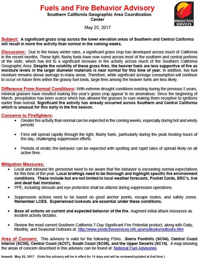 Fuels And Fire Behavior Advisory SoCal
