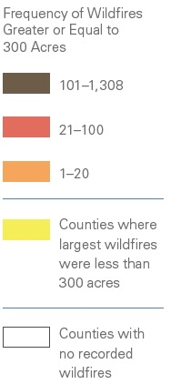 Wildfires map by county Legend