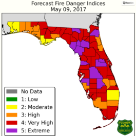 Florida's forecast fire indices paint a bleak picture of the situation affecting the state in an unusually dry spring, as shown in this map from the Florida Department of Agriculture and Consumer Services.