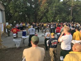 The morning briefing for the West Mims Fire on Thursday, May 11. Photo via Southeast Region of the US Fish and Wildlife Service Fire Management Division.
