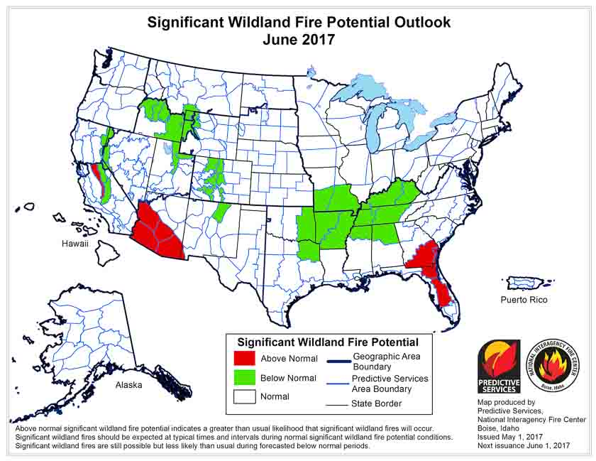 wildfire potential june 2017
