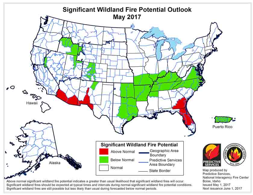 Wildfire potential, May through August, 2017