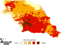 A sample visualization of wildfire risk, via the National Centers for Environmental Information.