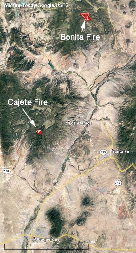 Map Bonita and Cajete Fires