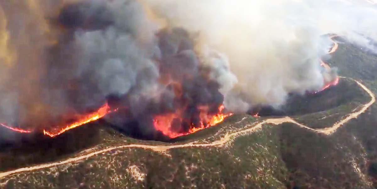 Lake Fire near Castaic Lake in Southern California
