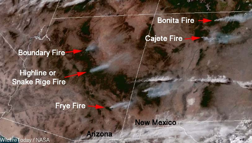 Satellite photo of wildfires in the Southwest