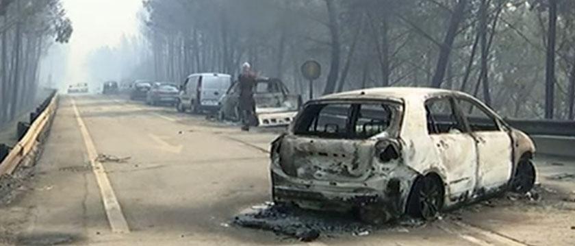 Vehicles burned fire Portugal