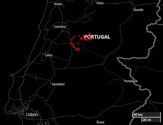 map fires wildfires Portugal