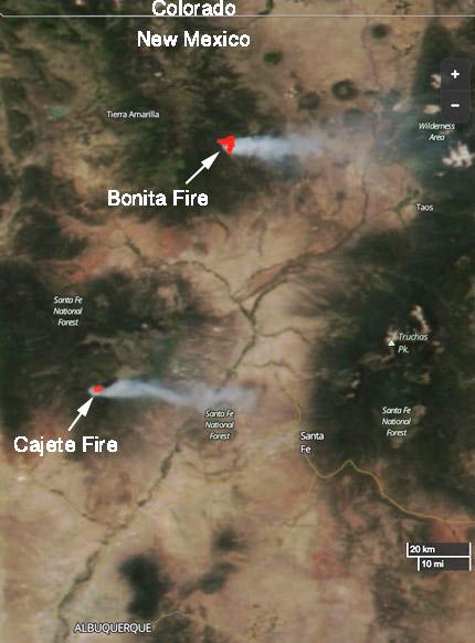 Map Cajete wildfires Bonita Fires