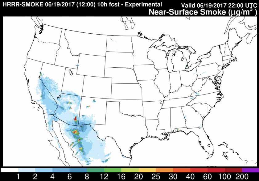 wildfire smoke forecast 6-19-2017