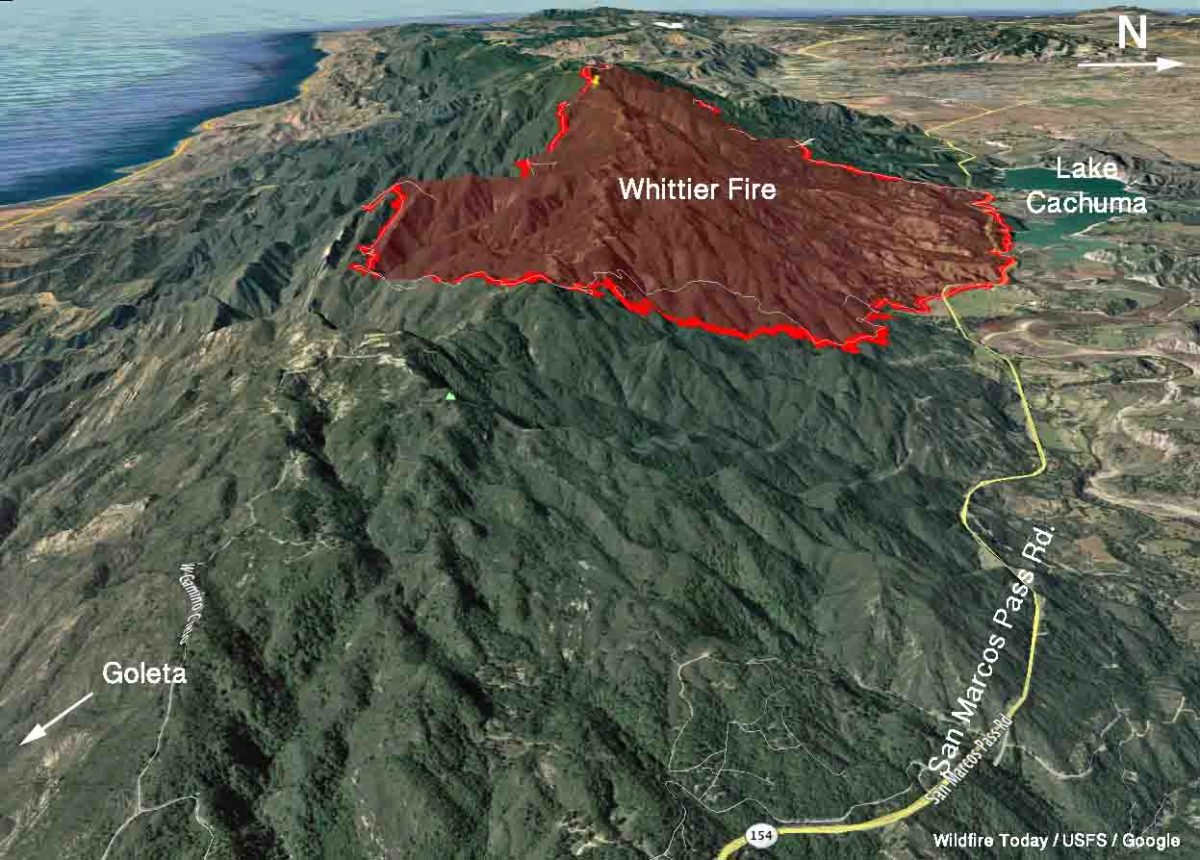 Whittier fire 3-d map