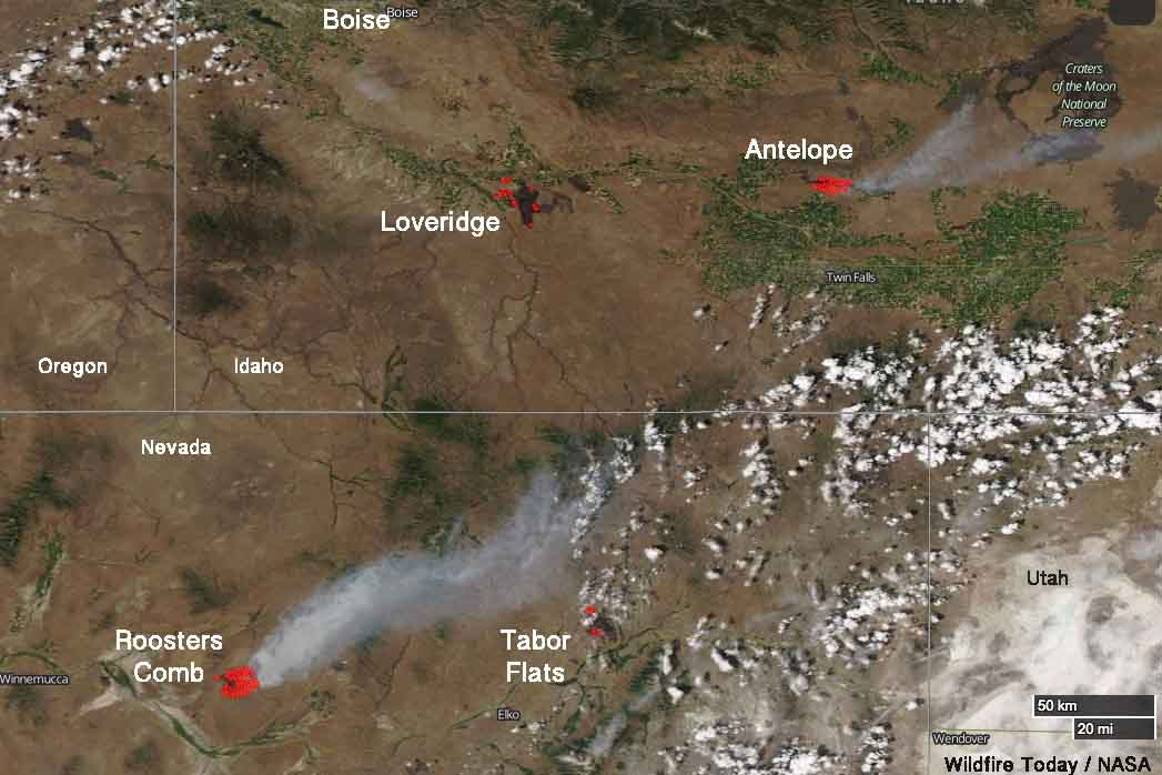 smoke Roosters Comb fire Nevada Idaho