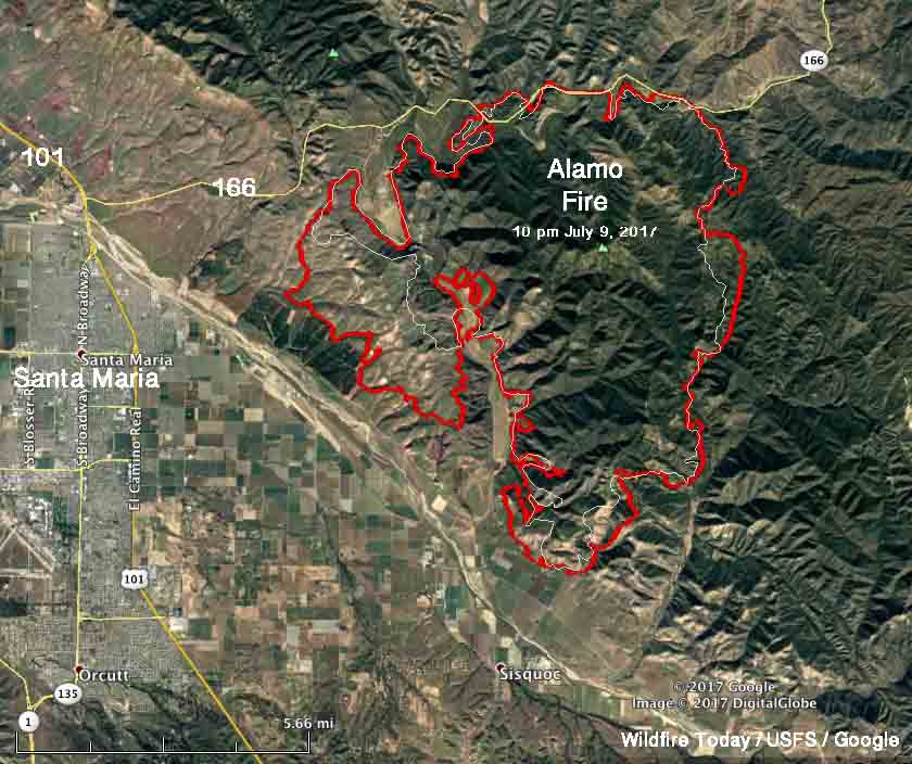 Update on the Alamo Fire east of Santa Maria, Calif.